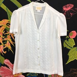VINTAGE 1970s / Eyelet Button Up Babydoll Top